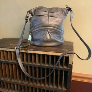 B. Makowsky Pewter small cross body leather bag